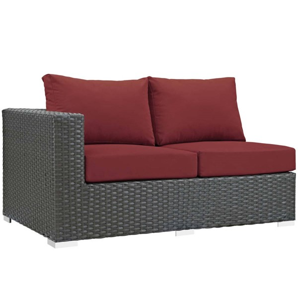 Modway Furniture Sojourn Red Outdoor Sunbrella Left Arm Loveseat EEI-1858-CHC-RED