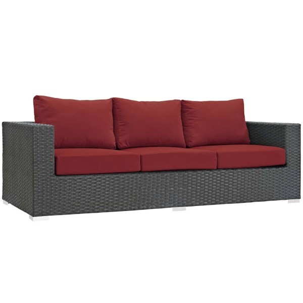 Modway Furniture Sojourn Red Outdoor Sunbrella Sofa EEI-1860-CHC-RED