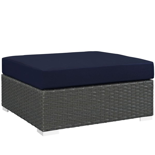 Sojourn Navy Fabric Synthetic Rattan Outdoor Patio Square Ottoman EEI-1861-CHC-NAV