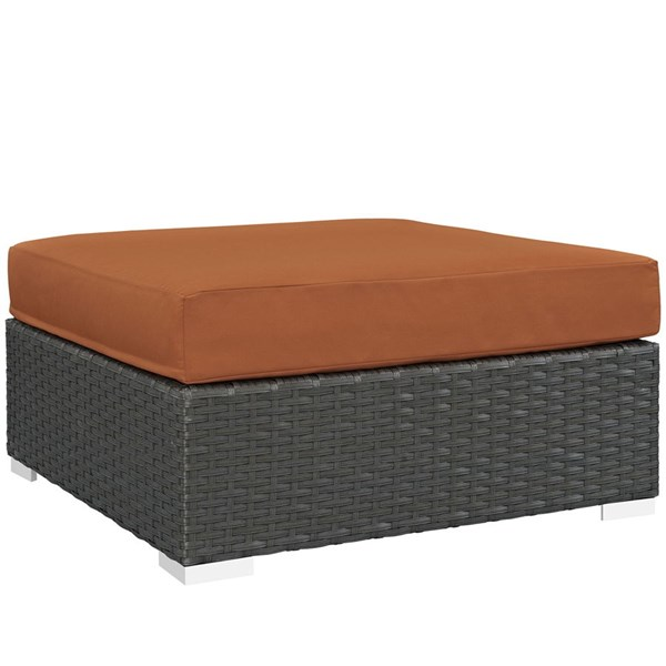 Sojourn Tuscan Fabric Synthetic Rattan Outdoor Patio Square Ottoman EEI-1861-CHC-TUS