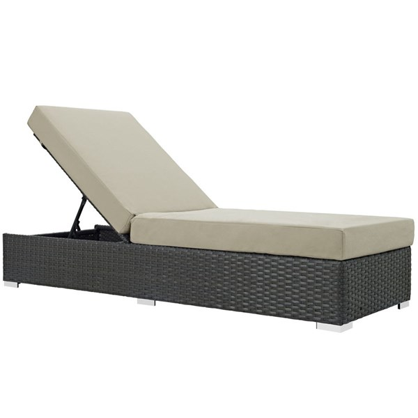 Sojourn Antique Beige Fabric EXP Rattan Outdoor Patio Chaise Lounge EEI-1862-CHC-BEI