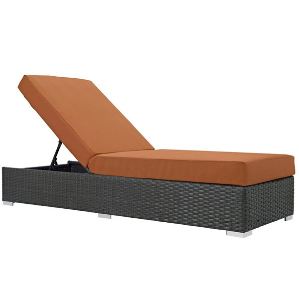 Sojourn Tuscan Fabric EXP Rattan Aluminum Outdoor Patio Chaise Lounge EEI-1862-CHC-TUS