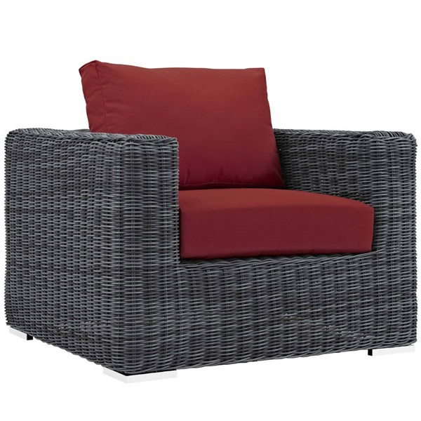 Modway Furniture Summon Red Outdoor Patio Sunbrella Armchair EEI-1864-GRY-RED
