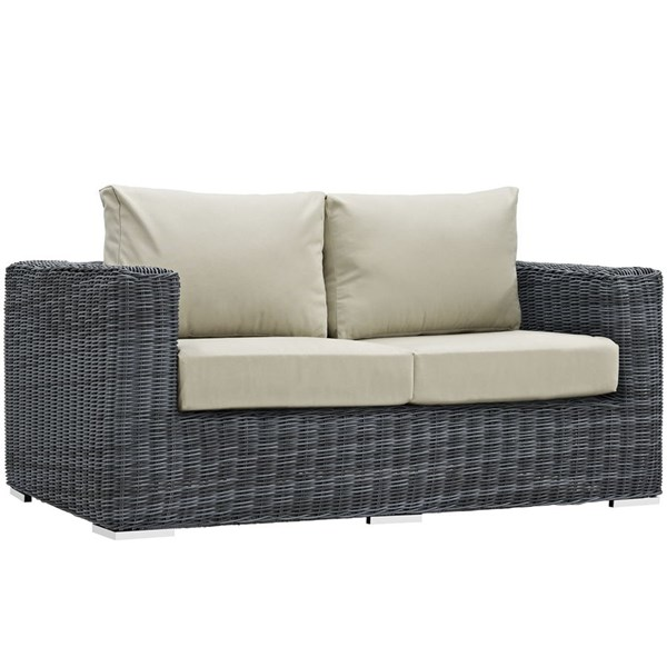 Modway Furniture Summon Beige Outdoor Patio Loveseat EEI-1865-GRY-BEI