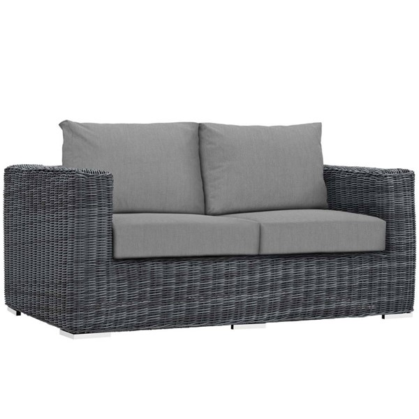 Modway Furniture Summon Gray Outdoor Sunbrella Loveseat EEI-1865-GRY-GRY