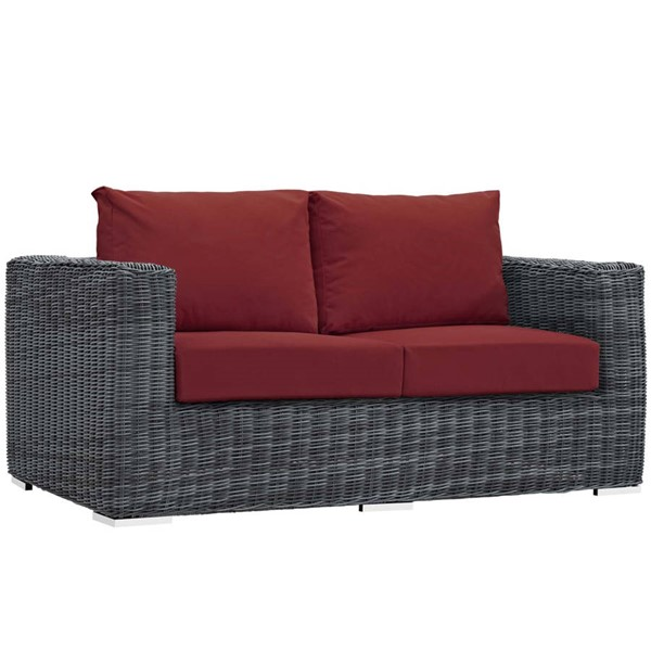 Modway Furniture Summon Red Outdoor Sunbrella Loveseat EEI-1865-GRY-RED