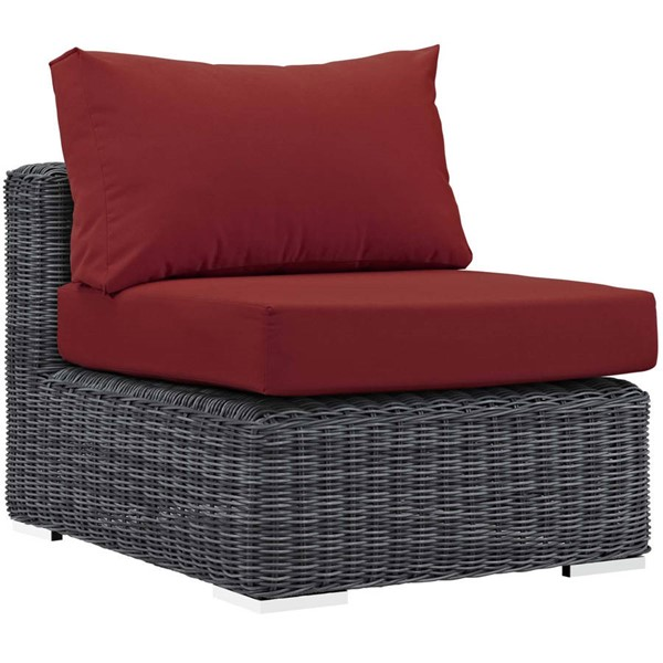 Modway Furniture Summon Red Outdoor Patio Armless Chair EEI-1868-GRY-RED