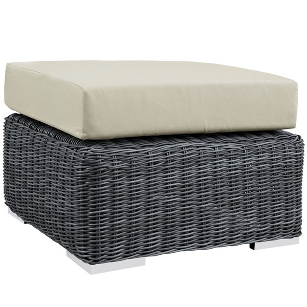 Summon Antique Beige Fabric Synthetic Rattan Outdoor Patio Ottoman EEI-1869-GRY-BEI