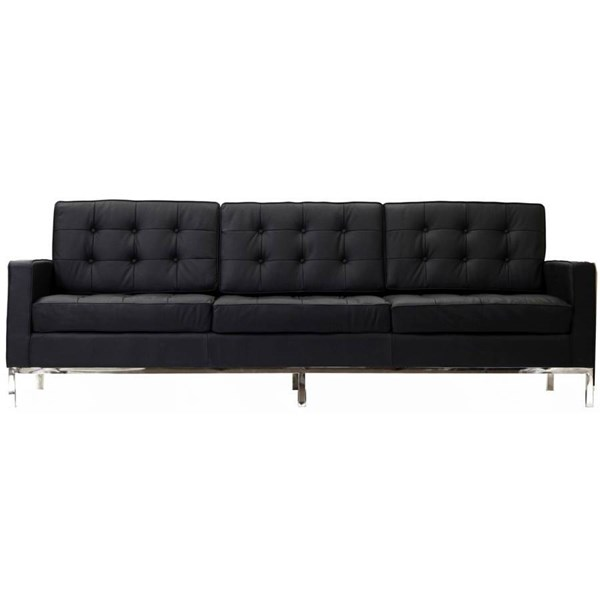 Loft Classic Black Brown White Steel Leather Foam Wood Legs PVC Sofas EEI-187