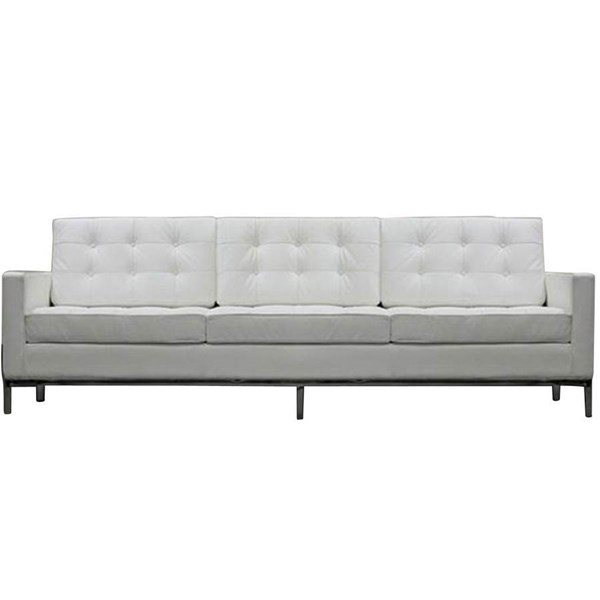 White Leather W/Stainless Steel Loft Sofa EEI-187-WHI