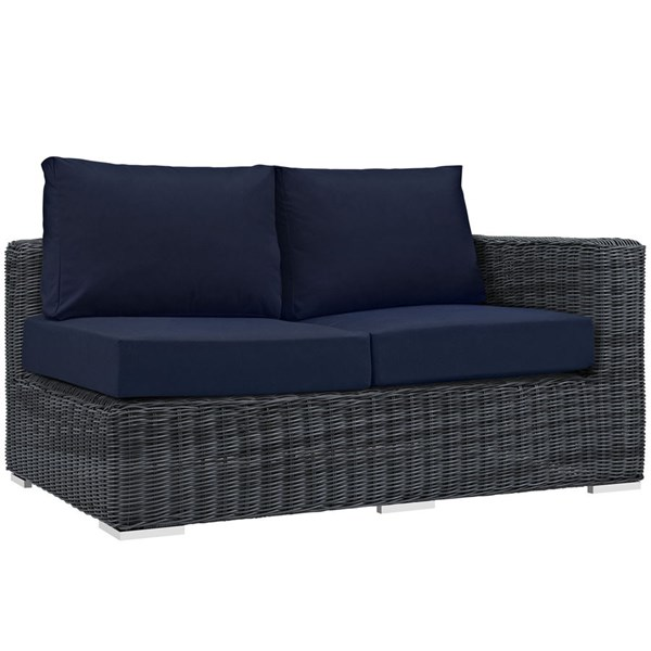 Modway Furniture Summon Navy Outdoor Sunbrella Right Arm Loveseat EEI-1871-GRY-NAV