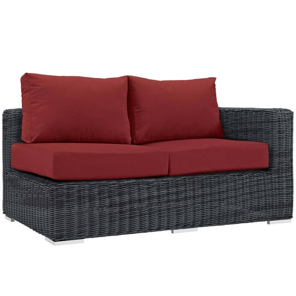 Modway Furniture Summon Red Outdoor Sunbrella Right Arm Loveseat EEI-1871-GRY-RED