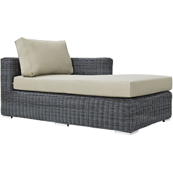 Summon Beige Fabric Synthetic Rattan Outdoor Patio Right Arm Chaise EEI-1873-GRY-BEI