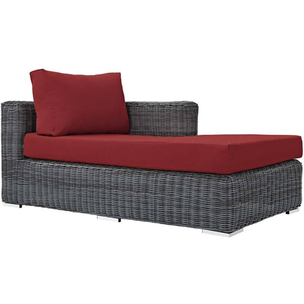 Modway Furniture Summon Red Outdoor Sunbrella Right Arm Chaise EEI-1873-GRY-RED