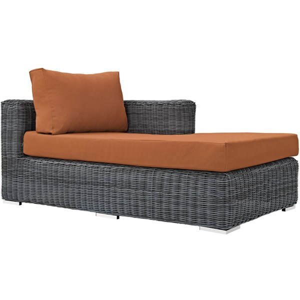 Summon Tuscan Fabric Synthetic Rattan Outdoor Patio Right Arm Chaise EEI-1873-GRY-TUS