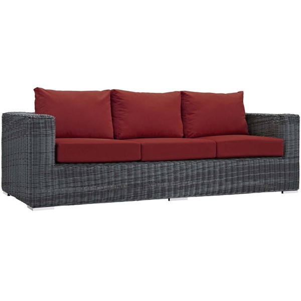 Modway Furniture Summon Red Outdoor Sunbrella Sofa EEI-1874-GRY-RED