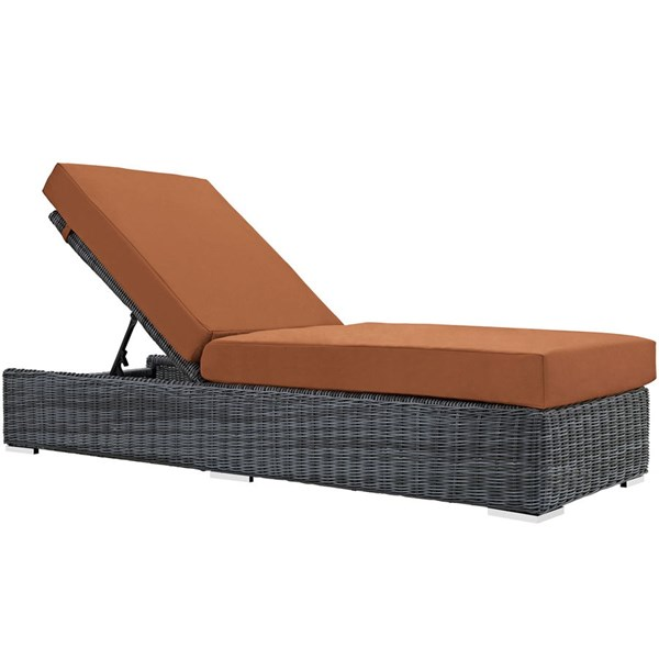 Summon Tuscan Fabric Synthetic Rattan Outdoor Patio Chaise Lounge EEI-1876-GRY-TUS