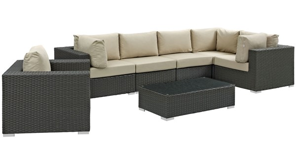 Modway Furniture Sojourn Beige 7pc Outdoor Sectional EEI-1878-CHC-BEI-SET