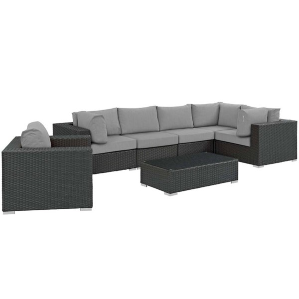 Modway Furniture Sojourn Gray 7pc Outdoor Sectional EEI-1878-CHC-GRY-SET