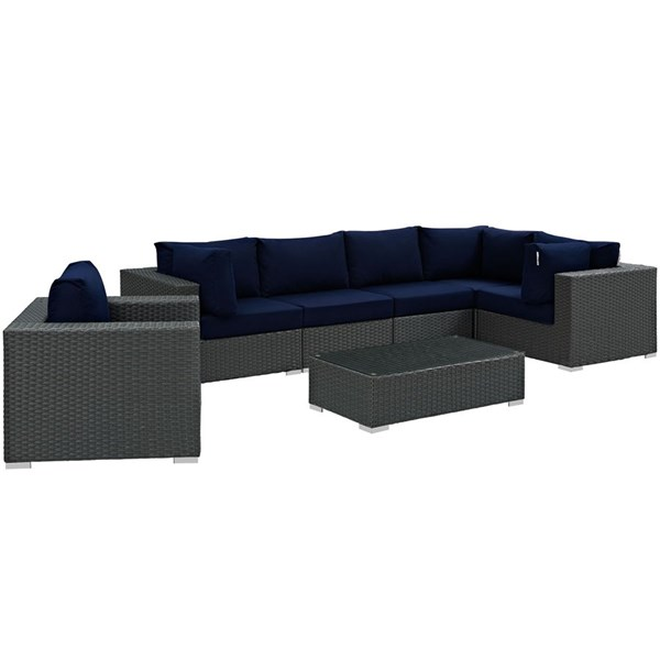 Sojourn Navy Fabric Synthetic Rattan Glass 7pc Outdoor Sectional Set EEI-1878-CHC-NAV-SET