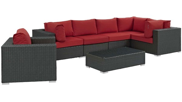 Modway Furniture Sojourn Red 7pc Outdoor Sectional EEI-1878-CHC-RED-SET