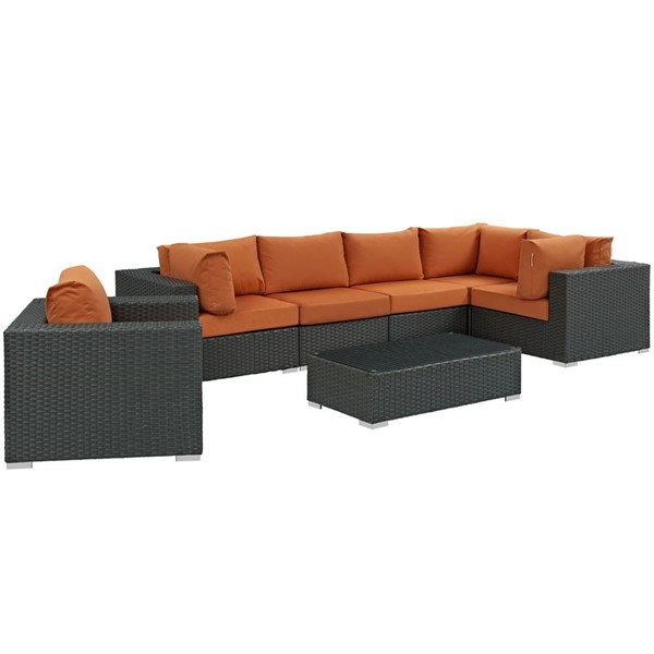 Sojourn Tuscan Fabric Synthetic Rattan Glass 7pc Outdoor Sectional Set EEI-1878-CHC-TUS-SET