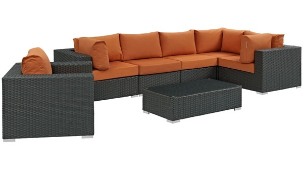 Modway Furniture Sojourn Tuscan 7pc Outdoor Sectional EEI-1878-CHC-TUS-SET