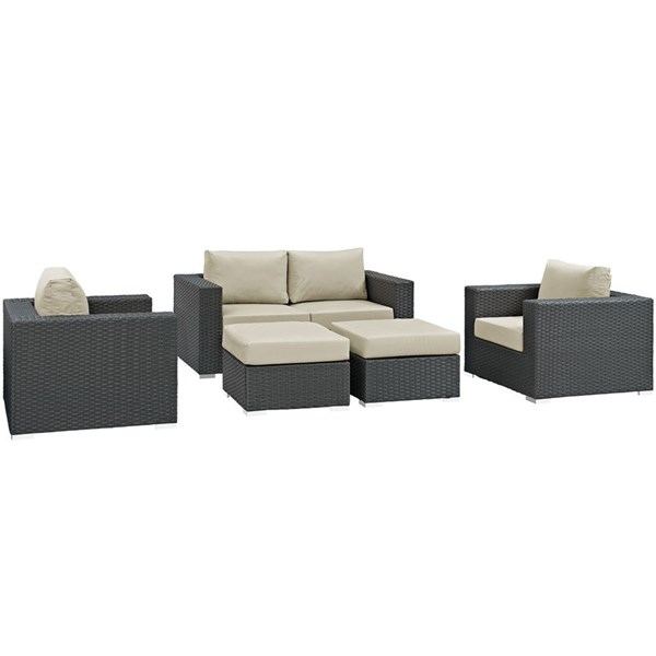 Sojourn Beige Fabric Synthetic Rattan 5pc Outdoor Patio Sofa Set EEI-1879-CHC-BEI-SET