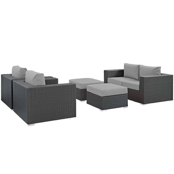 Modway Furniture Sojourn Gray 5pc Outdoor Patio Sofa Set EEI-1879-CHC-GRY-SET