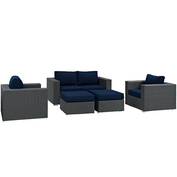 Sojourn Navy Fabric Synthetic Rattan 5pc Outdoor Patio Sofa Set EEI-1879-CHC-NAV-SET