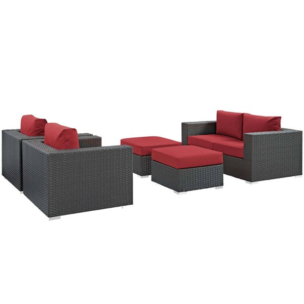 Modway Furniture Sojourn Red 5pc Outdoor Patio Sofa Set EEI-1879-CHC-RED-SET
