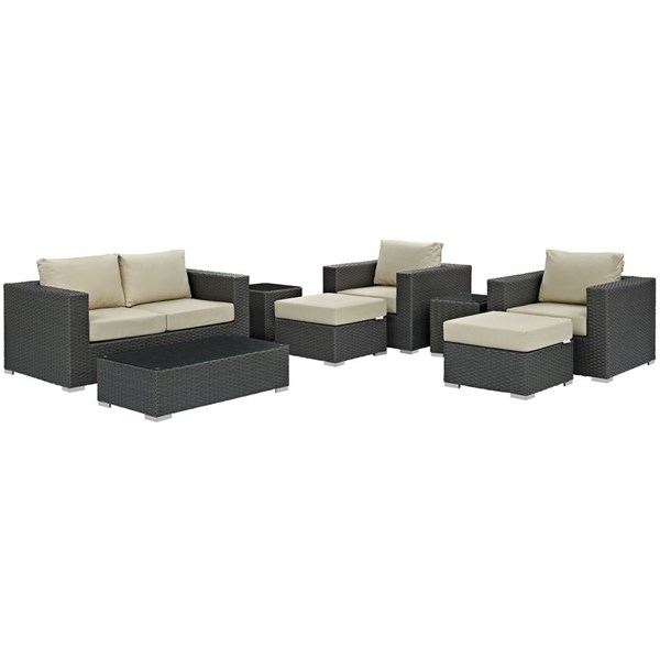 Sojourn Beige Fabric Synthetic Rattan 8pc Outdoor Patio Sofa Sets EEI-1880-OS-SS-VAR