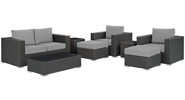 Modway Furniture Sojourn Gray 8pc Outdoor Patio Sofa Set EEI-1880-CHC-GRY-SET