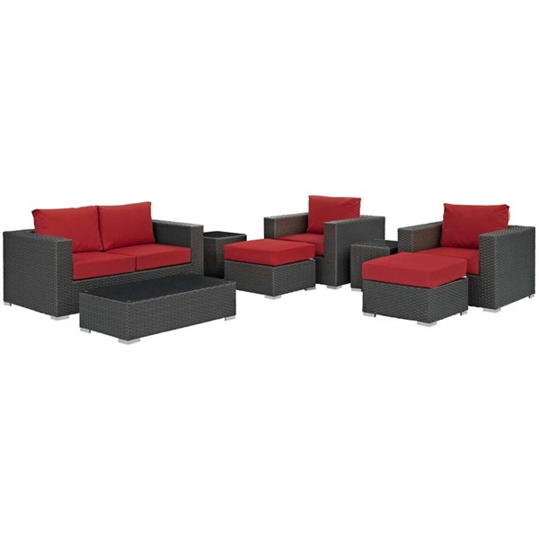 Modway Furniture Sojourn Red 8pc Outdoor Patio Sofa Set EEI-1880-CHC-RED-SET
