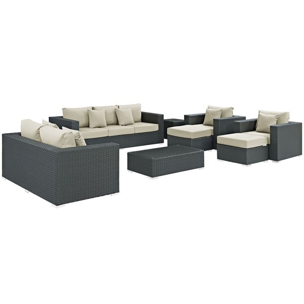 Modway Furniture Sojourn Beige 9pc Outdoor Sunbrella Sofa Set EEI-1881-CHC-BEI-SET