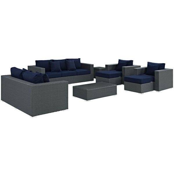 Sojourn Navy Fabric Synthetic Rattan 9pc Outdoor Patio Sofa Set EEI-1881-CHC-NAV-SET