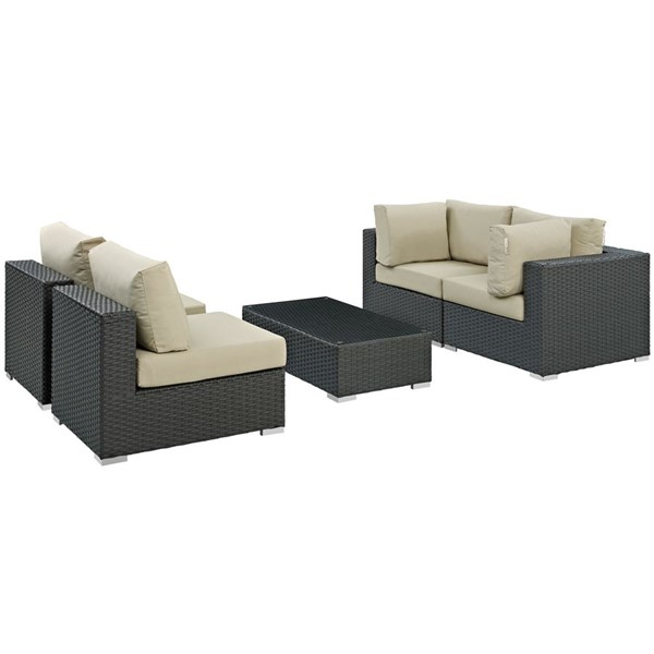 Sojourn Beige Fabric Synthetic Rattan 5pc Outdoor Sectional Sets EEI-1882-OS-SEC-VAR