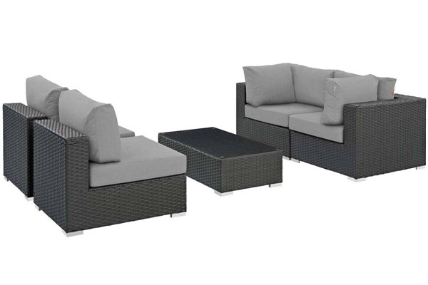 Modway Furniture Sojourn Gray 5pc Outdoor Patio Sunbrella Sectional EEI-1882-CHC-GRY-SET