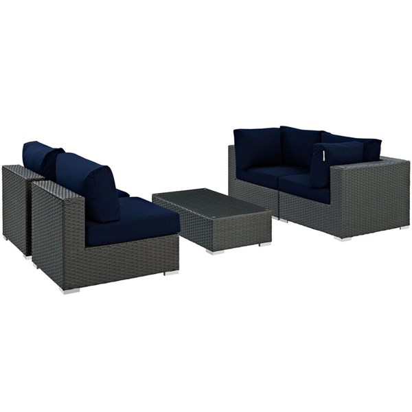 Modway Furniture Sojourn Navy 5pc Outdoor Patio Sunbrella Sectional EEI-1882-CHC-NAV-SET