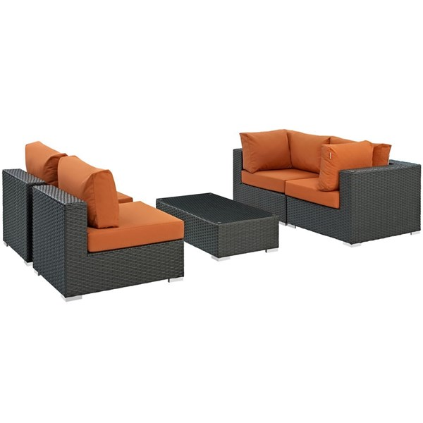 Sojourn Tuscan Fabric Synthetic Rattan 5pc Outdoor Sectional Set EEI-1882-CHC-TUS-SET