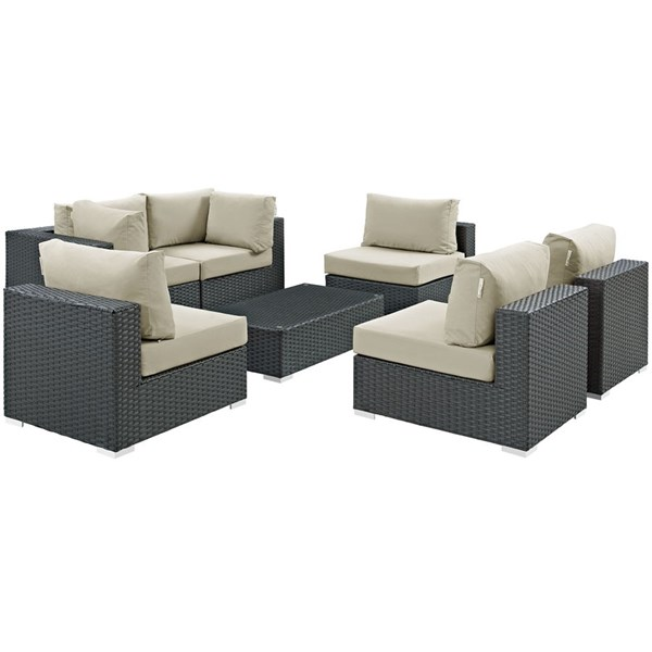 Sojourn Beige Fabric Synthetic Rattan 7pc Outdoor Sectional Set EEI-1883-CHC-BEI-SET