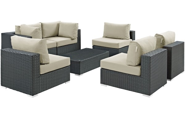 Modway Furniture Sojourn Beige 7pc Outdoor Patio Sectional Set EEI-1883-CHC-BEI-SET