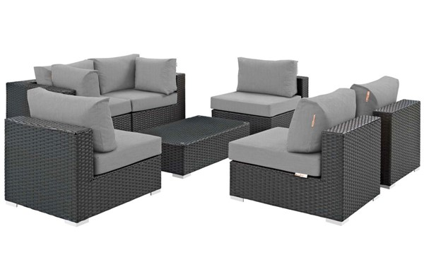 Modway Furniture Sojourn Gray 7pc Outdoor Patio Sectional Set EEI-1883-CHC-GRY-SET