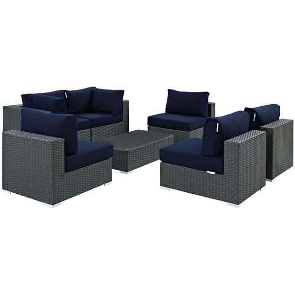 Sojourn Navy Fabric Synthetic Rattan 7pc Outdoor Sectional Set EEI-1883-CHC-NAV-SET