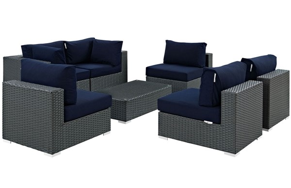 Modway Furniture Sojourn Navy 7pc Outdoor Patio Sectional Set EEI-1883-CHC-NAV-SET