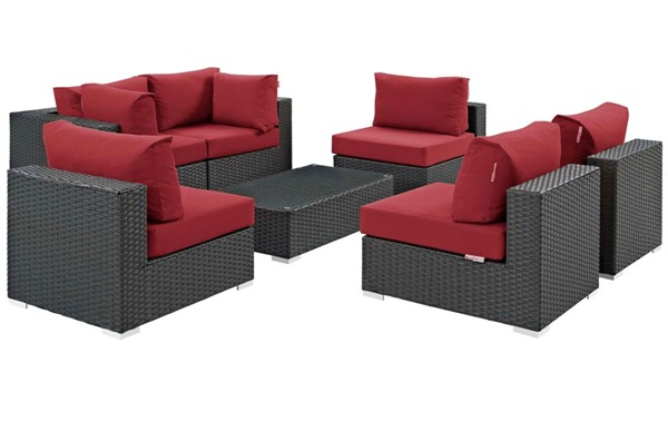 Modway Furniture Sojourn Red 7pc Outdoor Patio Sectional Set EEI-1883-CHC-RED-SET