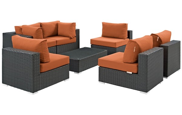 Modway Furniture Sojourn Tuscan 7pc Outdoor Patio Sectional Set EEI-1883-CHC-TUS-SET