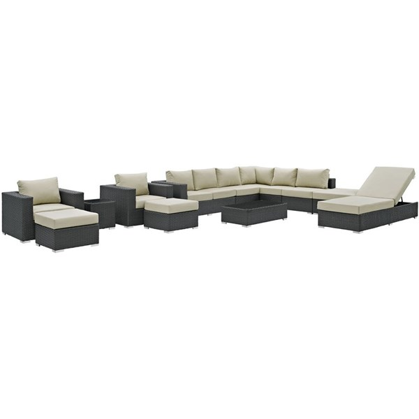 Sojourn Beige Synthetic Rattan 12pc Outdoor Patio Sectional Sets EEI-1884-OS-SEC-VAR