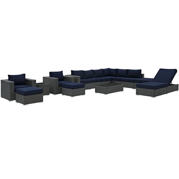 Sojourn Navy Fabric Synthetic Rattan 12pc Outdoor Patio Sectional Set EEI-1884-CHC-NAV-SET
