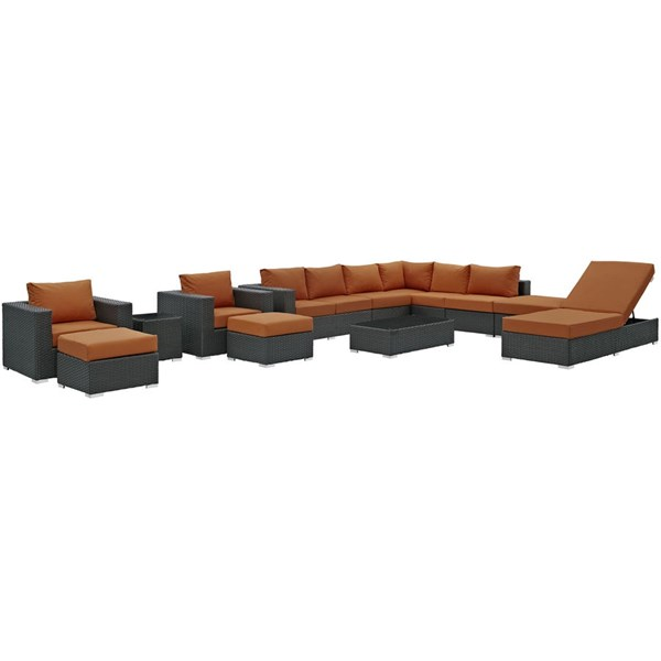 Sojourn Fabric Synthetic Rattan Glass 12pc Outdoor Patio Sectional Set EEI-1884-CHC-TUS-SET